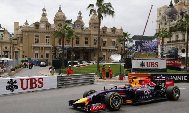Red Bull driver Sebastian Vettel of Germany steers his car during the first free practice at the Monaco racetrack, in Monaco, Thursday, May 22, 2013. The  Monaco Formula One Grand Prix will be held on Sunday. (AP Photo/Claude Paris)