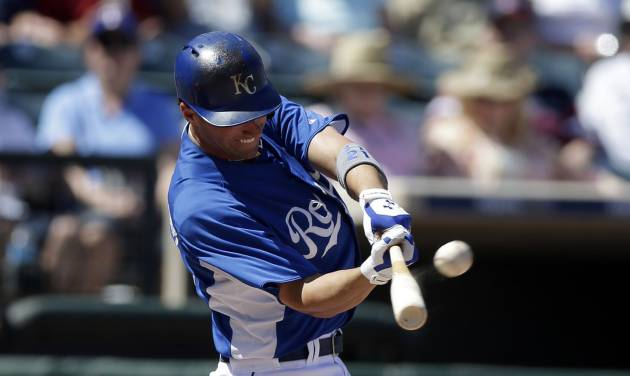 Kansas City Royals' Jeff Francoeur hits a home run against the Cleveland Indians during the fifth inning in an exhibition spring training baseball game on Friday, March 29, 2013, in Surprise, Ariz. (AP Photo/Gregory Bull)