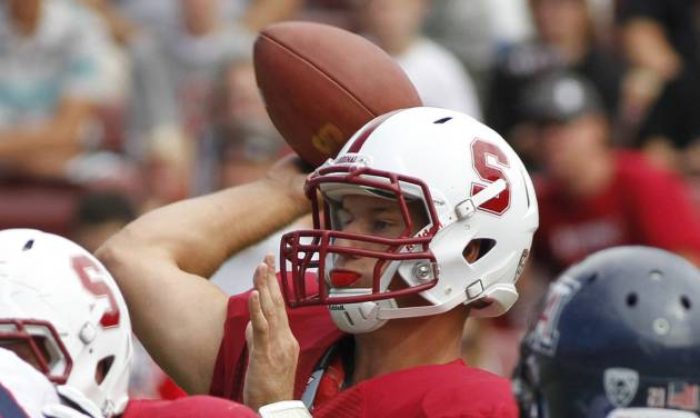 Stanford quarterback Josh Nunes throws against Arizona during the first half of an NCAA college football game in Stanford, Calif., Saturday, Oct. 6, 2012. (AP Photo/George Nikitin)