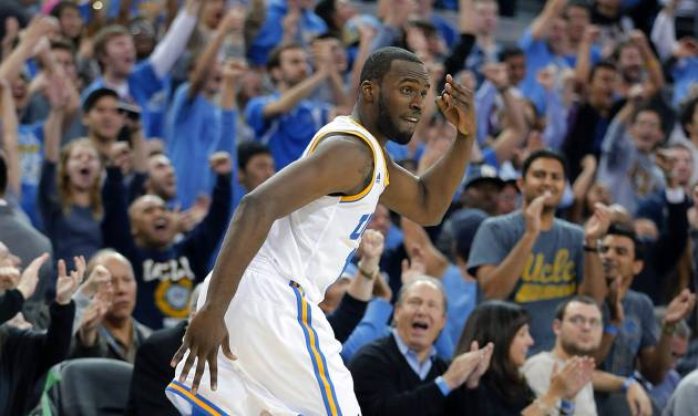 UCLA's Shabazz Muhammad reacts after making a 3-point shot against Missouri in overtime of an NCAA college basketball game in Los Angeles, Friday, Dec. 28, 2012. UCLA won 97-94 in overtime. (AP Photo/Jae C. Hong)