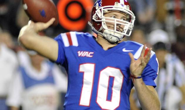 Louisiana Tech's Quarterback Colby Cameron threw for 329 yards during an NCAA football game against Texas A& M in Shreveport, La.,Saturday, Oct. 13, 2012. (AP Photo/Kita K Wright)