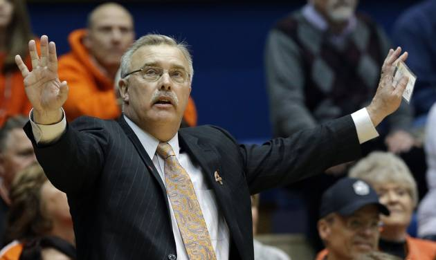 Oklahoma State coach Jim Littell reacts against DePaul during the second half of a first-round game in the women's NCAA college basketball tournament in Durham, N.C., Sunday, March 24, 2013. Oklahoma State won 73-56. (AP Photo/Gerry Broome) ORG XMIT: NCGB122