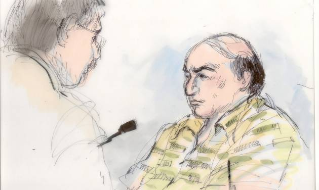 FILE - This Sept. 27, 2012, file courtroom sketch shows Mark Basseley Youssef, right, talking with his attorney Steven Seiden in court. Youssef, who was behind an anti-Muslim film that sparked violence in the Middle East, is expected to be asked by a judge Wednesday, Oct. 10, 2012, whether he violated his probation for a 2010 bank fraud conviction. (AP Photo/Mona Shafer Edwards, File)