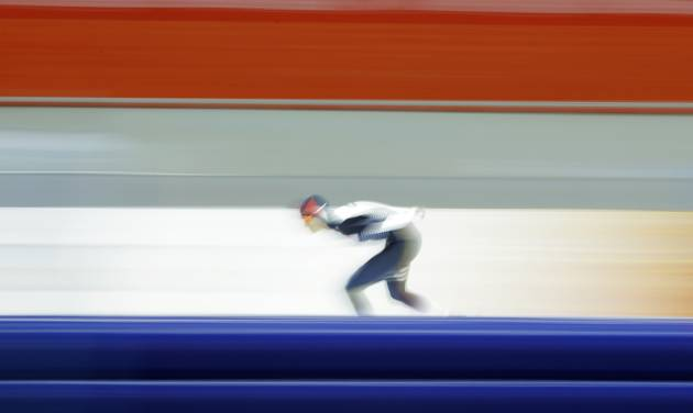Martina Sablikova of the Czech Republic skates her way to gold in the women's 5,000-meter speedskating race at the Adler Arena Skating Center during the 2014 Winter Olympics in Sochi, Russia, Wednesday, Feb. 19, 2014. (AP Photo/Matt Dunham)