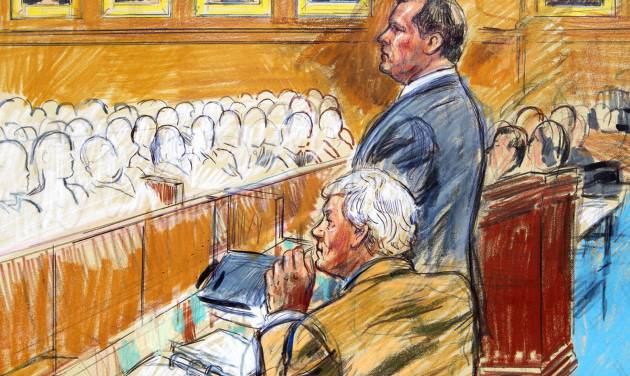 This artist rendering shows former Major League Baseball pitcher Roger Clemens, standing, and his attorney Rusty Hardin, front left, facing prospective jurors inside federal court in Washington, Monday, Aril 16, 2012, during jury selection in the perjury trial. (AP Photo/Dana Verkouteren)