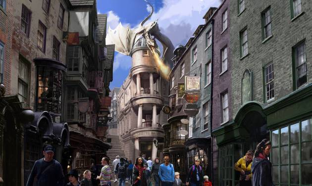 This artist rendering released by Universal Orlando shows the new Harry Potter area called Diagon Alley, opening at Universal Orlando Resort this summer.  Details of Diagon Alley were released in a media webcast on Thursday, Jan. 23. (AP Photo/Universal Orlando)