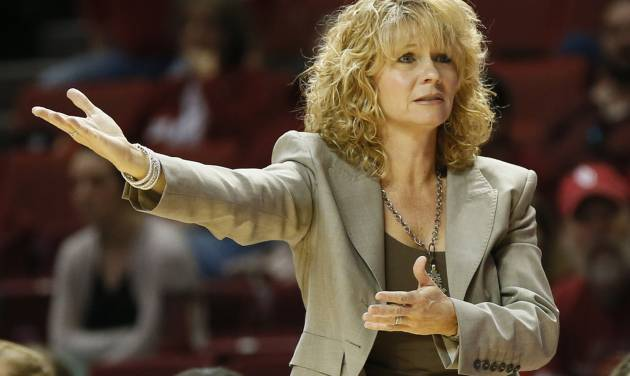 REACTION: OU head coach Sherri Coale reacts to a call in the second half during a women's college basketball game between the University of Oklahoma (OU) and Cal State Northridge at the Lloyd Noble Center in Norman, Okla., Saturday, Dec. 29, 2012. OU won, 79-57.  Photo by Nate Billings, The Oklahoman