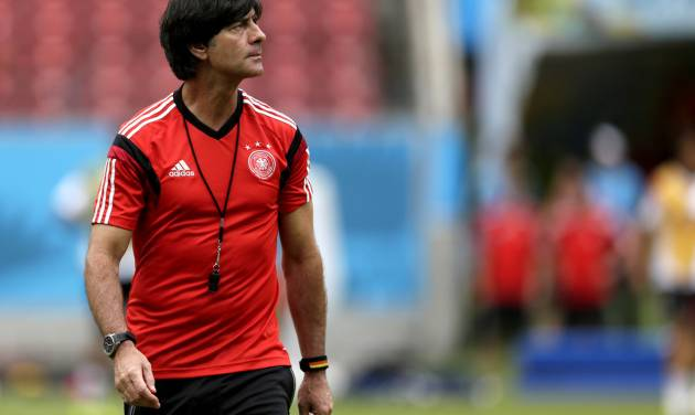 Germany's head coach Joachim Loew looks on during a training session in Recife, Brazil, Wednesday, June 25, 2014. Germany will play the United States in group G of the 2014 soccer World Cup on June 26. (AP Photo/Julio Cortez)