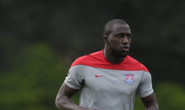 United States' Jozy Altidore works out during a training session in Sao Paulo, Brazil, Saturday, June 28, 2014. The U.S. will play against Belgium on Tuesday, July 1, in the round 16 of the 2014 soccer World Cup. (AP Photo/Julio Cortez)