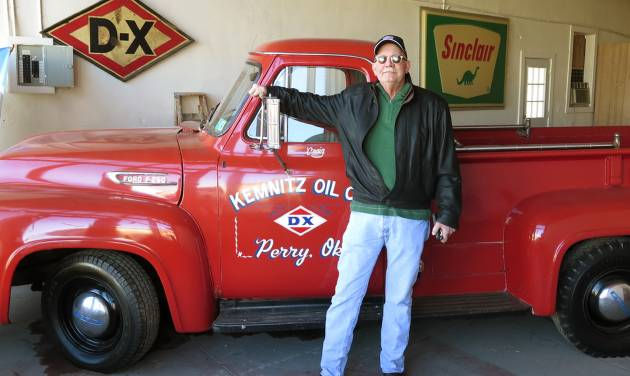 Craig Kemnitz, owner of the Kemnitz Sinclair Station in Perry, stands beside a 1953 Ford pickup the Kemnitz Oil Co. Inc. used to haul drums of lubricant oil to drilling rigs. Wednesday, February 3, 2016. [Photos by Paul Monies, The Oklahoman]
