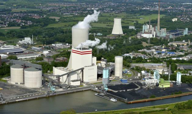 ADVANCE FOR MONDAY, JULY 28, 2014, AT 12:01 A.M. AND THEREAFTER - This image provided by Trianel on July 24, 2013, shows an undated aerial view on the Trianel power plant in Luenen, western Germany. The 750-megawatt Trianel power plant relies completely on coal imports, about half from the U.S. Soon, all of Germany's coal-fired power plants will be dependent on imports, with the country scheduled to halt all coal mining in 2018 when government subsidies end. Coal mining's demise in Germany comes as the country is experiencing a resurgence in coal-fired power, one which the U.S. increasingly has helped supply. (AP Photo/Trianel, Guenther Goldstein)