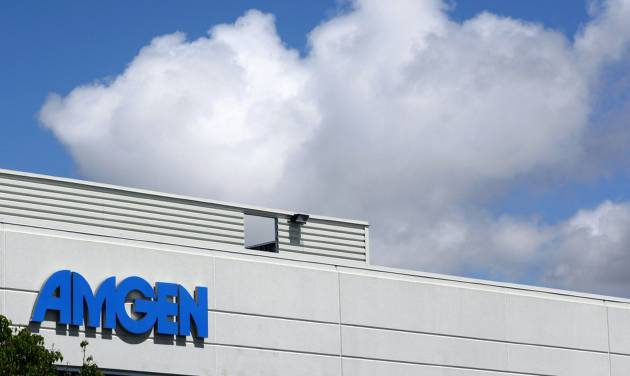 FILE - This April 20, 2010, file photo, shows an exterior view of Amgen offices in Fremont, Calif.  Biotech drugmaker Amgen Inc. reports quarterly earnings on Tuesday, July 29, 2014. (AP Photo/Paul Sakuma, file)