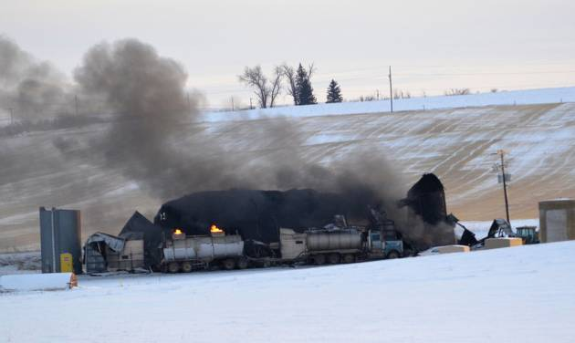 This photo provided by Wibaux County Disaster and Emergency Services, shows an eastern Montana oil recycling facility destroyed by an explosion and a fire, which is still burning Monday, Dec. 31, 2012 two days after it began outside Wibaux, Mont. Three workers were injured in the explosion, but their conditions are not known. (AP Photo/Wibaux County Disaster and Emergency Services, Frank Datta)
