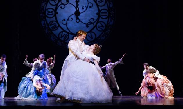 """This theater image released by Sam Rudy Media Relations shows Carley Rae Jepsen as Cinderella, center right, dancing with Joe Carroll as the Prince, during a performance of """"Rodgers + Hammerstein's Cinderella on Broadway."""" Three musicals this week have added Thursday matinees to their eight-show weeks in an attempt to offer more options to audience-goers and stand out from the rest of the pack. The shows making the move are """"Rodgers & Hammerstein's Cinderella,"""" """"Mamma Mia!"""" and """"The Phantom of the Opera."""" (AP Photo/Sam Rudy Media Relations)"""
