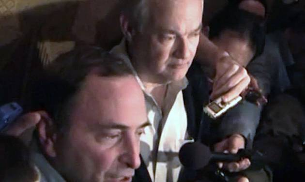 In this image from video, NHL commissioner Gary Bettman, left, talks to the media as Donald Fehr, executive director of the NHL Players' Association, stands next to him, in New York, early Sunday, Jan. 6, 2013. A tentative deal to end the 113-day NHL lockout was reached early Sunday morning following a marathon 16-hour negotiating session. (AP Photo/The Canadian Press, Chris Johnston)
