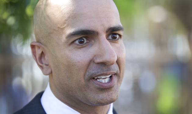 Republican candidate for governor Neel Kashkari discusses issues related to poverty in California during a news conference outside of the River City Food Bank in Sacramento, Calif., on Thursday, July 31, 2014. Kashkari said he spent a week living as a homeless person in search of a job to test Gov. Jerry Brown's claim that the state is making a comeback after the economic downturn. A video crew documented his week. (AP Photo/Steve Yeater)