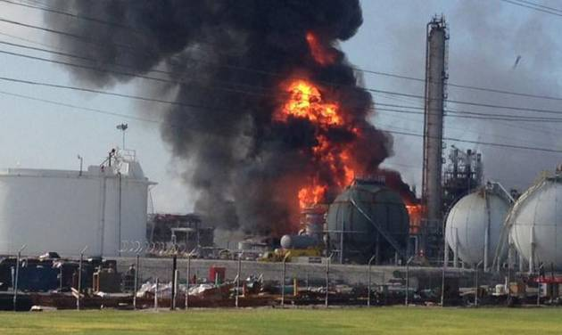 This photo provided by Ryan Meador shows an explosion at The Williams Companies Inc. plant in the Ascension Parish town of Geismar La., Thursday, June 13, 2013. The fire broke out Thursday morning at the plant, which the company's website says puts out about 1.3 billion pounds of ethylene and 90 million pounds of polymer grade propylene a year. (AP Photo/Ryan Meador)