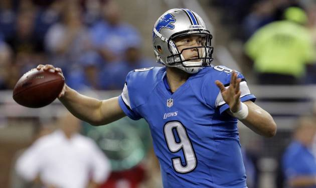 FILE - In this Aug. 9, 2013 file photo, Detroit Lions quarterback Matthew Stafford throws during a preseason NFL football game against the New York Jets in Detroit. It's remarkable to think that Stafford has more to prove after throwing for over 10,000 yards over the last two seasons, but the Detroit quarterback couldn't prevent an eight-game losing streak to end last season. (AP Photo/Paul Sancya)