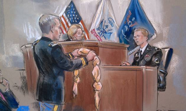 This artist rendering shows Army Pfc. Bradley Manning, right, being shown a bedsheet as he testified in his pretrial Wikileaks hearing in Fort Meade, Md., Friday, Nov. 30, 2012. Manning, who is charged with leaking classified material to WikiLeaks in the biggest security breach in the country's history testified Friday that he once tied a bedsheet into a noose while considering suicide after his arrest.  (AP Photo/William Hennessy)