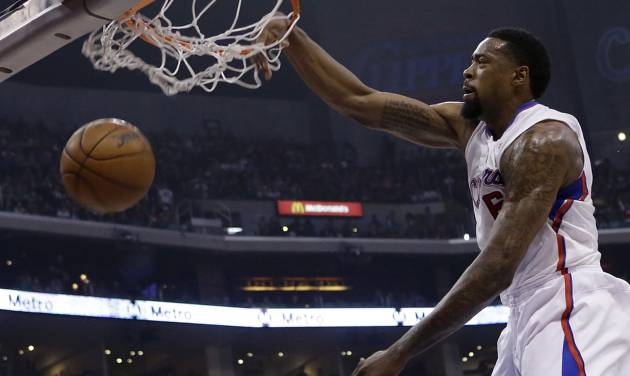 Los Angeles Clippers center DeAndre Jordan (6) dunks against the New York Knicks in the first half of an NBA basketball game in Los Angeles Sunday, March 17, 2013. (AP Photo/Reed Saxon)