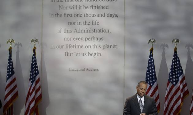 Massachusetts Gov. Deval Patrick calls for a moment of silence at 1:58 PM EST to mark the time of death for President Kennedy during a ceremony to commemorate the 50th anniversary of Kennedy's assassination at the John F. Kennedy Library and Museum in Boston, on Friday, Nov. 22, 2013. Kennedy, the 35th President of the United State, was assassinated in Dallas, Texas 50 years ago today. (AP Photo/Stephan Savoia)