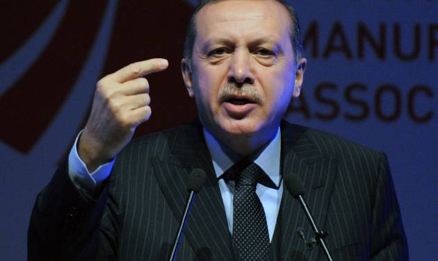 Turkey's Prime Minister Recep Tayyip Erdogan speaks during a fashion conference in Istanbul, Turkey, Thursday, May 3, 2012. Erdogan on Thursday accused ratings agency Standard & Poor's of bias for lowering the country's long-term credit outlook on the same day it upgraded Greece's credit grade. (AP Photo)