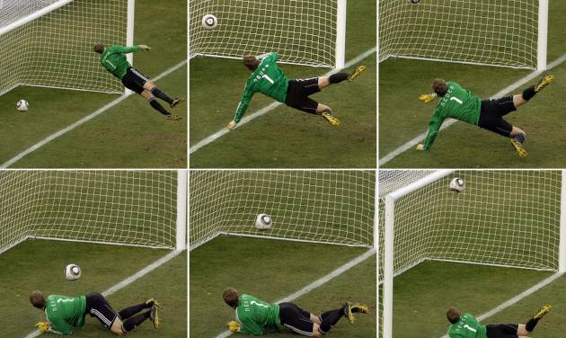 FILE - In this June 27, 2010 file photo made from a combination of six photos, Germany's goalkeeper Manuel Neuer looks at a ball that hit the bar to bounce over the line during the soccer World Cup second round soccer match between Germany and England at Free State Stadium, in Bloemfontein, South Africa. On this day: the future use of goal-line technology was effectively sealed after a clear Frank Lampard goal was not given. Germany went on to win the game 4-1. (AP Photo/Alessandra Tarantino, File)