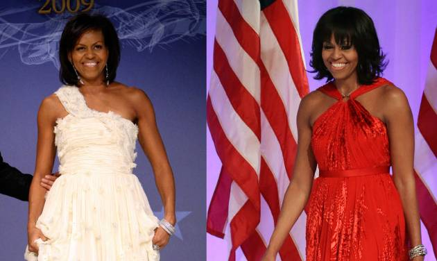 This combo image shows first lady Michelle Obama as she arrives at the Inaugural Ball in Washington on Jan. 21, 2009, left, and Jan. 21, 2013, right. Michelle Obama made it a fashion tradition Monday night, wearing a custom-made Jason Wu gown to the inaugural balls. The ruby-colored dress was a follow-up to the white gown Wu made for her four years ago when she was new to Washington, the pomp and circumstance, and the fashion press. (AP Photos/Jacquelyn Martin, Pablo Martinez Monsivais)