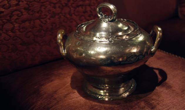 "In this Wednesday, Oct. 17 2012 photo, a soup tureen is photographed at the Waldorf Astoria hotel in New York. Dozens of items were returned recently as part of the hotel's ""Amnesty"" program _ no questions asked, unless people volunteer some fascinating stories. (AP Photo/Mary Altaffer)"