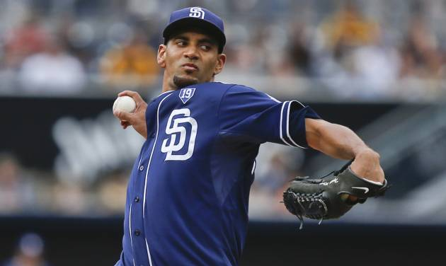 San Diego Padres starting pitcher Tyson Ross throws against the New York Mets in the first inning of a baseball game Saturday, July 19, 2014, in San Diego.  (AP Photo/Lenny Ignelzi)
