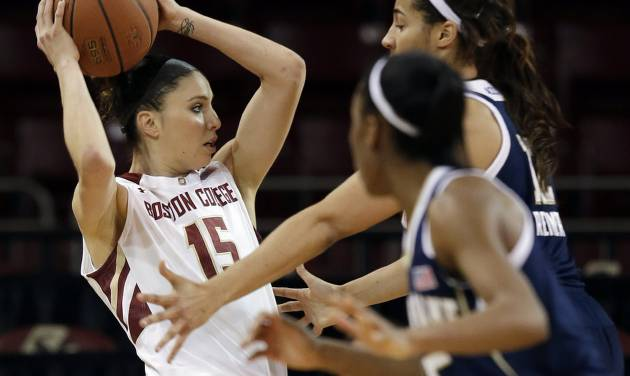 Boston College guard Lauren Engeln (15) looks for a way around the defense of Notre Dame guard Lindsay Allen, foreground, and forward Taya Reimer during the second half of an NCAA college basketball game in Boston, Thursday, Feb. 13, 2014. Notre Dame won 82-61. (AP Photo/Stephan Savoia)