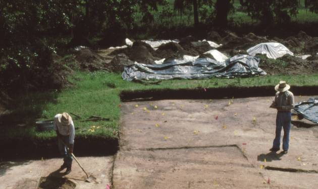 This 1991 photo made available by the South Carolina Institute of Archeology and Anthropology shows excavations of the Spanish settlement of Santa Elena on Parris Island, SC., in 1991. The town of Santa Elena was established in 1566 and served as Spain's colonial capital on the continent until 1576.  It was abandoned in 1587. The nonprofit Santa Elena Foundation plans to open an exhibit that tells of Santa Elena and its role in the European struggle for control of North America.  (AP Photo/South Carolina Institute of Archeology and Anthropology)