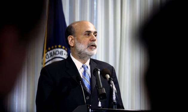 FILE - In this  Thursday, Dec. 4, 2008, file photo, Federal Reserve Chairman Ben Bernanke speaks on housing and housing finance, at the Federal Reserve in Washington .Federal Reserve officials agonized throughout 2008 over how far they could go to stop a financial catastrophe that threatened to pull the economy into a deep recession, transcripts of the Fed's policy meetings that year show.  (AP Photo/Jose Luis Magana, File)
