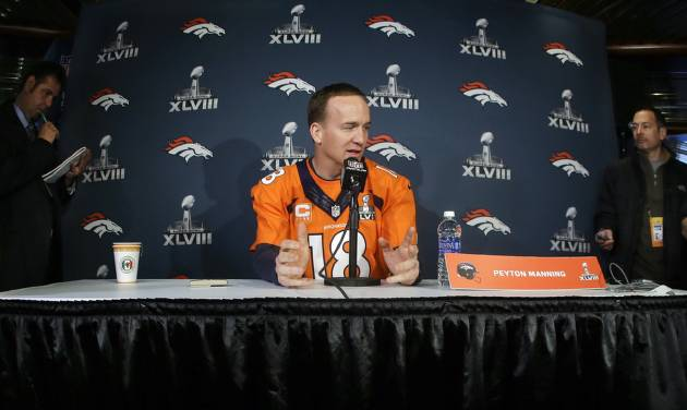 Denver Broncos quarterback Peyton Manning talks with reporters during a news conference Wednesday, Jan. 29, 2014, in Jersey City, N.J. The Broncos are scheduled to play the Seattle Seahawks in the NFL Super Bowl XLVIII football game Sunday, Feb. 2, in East Rutherford, N.J. (AP Photo/Mark Humphrey)