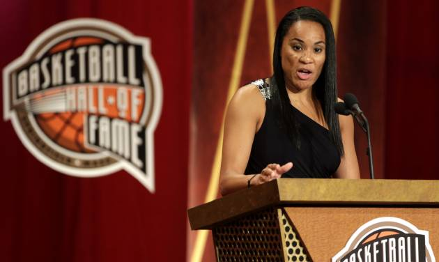 Inductee Dawn Staley speaks during the enshrinement ceremony for this year's class of the Basketball Hall of Fame, at Symphony Hall in Springfield, Mass., Sunday, Sept. 8, 2013. (AP Photo/Steven Senne)