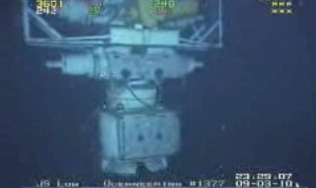 In this image taken from video provided by BP  PLC at 12:23 a.m. EDT, Saturday Sept. 4, 2010 Aug. 3, 2010 shows the blowout preventer that failed to stop oil from spewing into the Gulf of Mexico being raised to the surface. The last-ditch safety device that didn't stop the 2010 BP oil spill had multiple failures, wasn't tested properly, and still poses a risk for many rigs drilling today, another federal investigation board concludes. The report issued Thursday by the U.S. Chemical Safety Board zeroes in on what went wrong with the blowout preventer and blames bad management and operations. They found two different sets of wrong wiring, a dead battery and a bent pipe in the hulking failsafe device. And that they said led to the dumping of 172 million gallons of oil into the Gulf of Mexico. (AP Photo/BP PLC) NO SALES