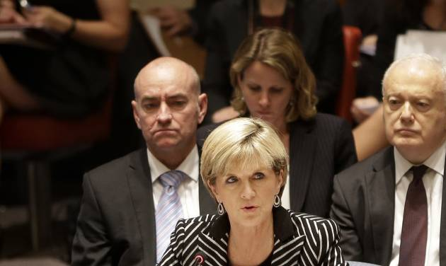 Julie Bishop, Australian Minister for Foreign Affairs, speaks during a security council meeting at United Nations headquarters, Monday, July 21, 2014. The council unanimously adopted a resolution demanding full access to the crash site of Malaysia Airlines flight MH17. (AP Photo/Seth Wenig)