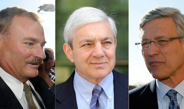 FILE - In these Nov. 7, 2011, file photo combination, former Penn State vice president Gary Schultz, left, and former Penn State director of athletics Tim Curley, right, and on July 29, 2013, former Penn State president Graham Spanier, center, are seen in Harrisburg, Pa.  Judge William Wenner ordered Spanier, Schultz, and Curley on Tuesday, July 30, 2013, to stand trial on charges accusing them of a cover-up in the Jerry Sandusky child sex abuse scandal. (AP Photo/Brad Bower, left, Matt Rourke, right, File)