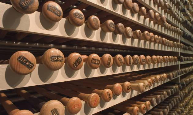 This undated image released by the Louisville Slugger Museum & Factory shows the bat vault in Louisville, Ky. Visitors can trace that baseball heritage along the Louisville Slugger Walk of Fame, stretching about a mile from the Louisville Slugger Museum & Factory to the city's minor-league ballpark. (AP Photo/Hillerich & Bradsby)
