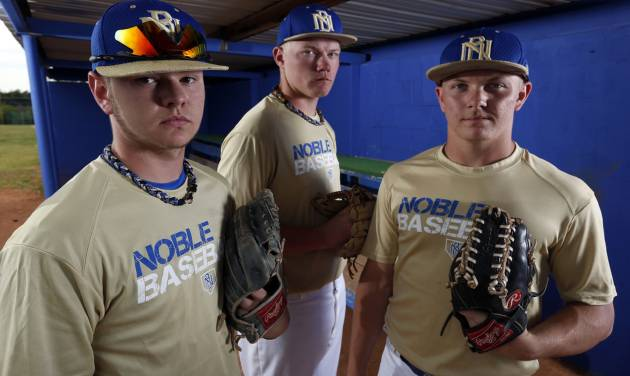 Noble pitchers Jimmy Wood, Brady Bradshaw and Derek Underwood are in the state tournament for the Noble Bears on Wednesday, May 8, 2013 in Noble, Okla.  Photo by Steve Sisney, The Oklahoman  STEVE SISNEY - THE OKLAHOMAN