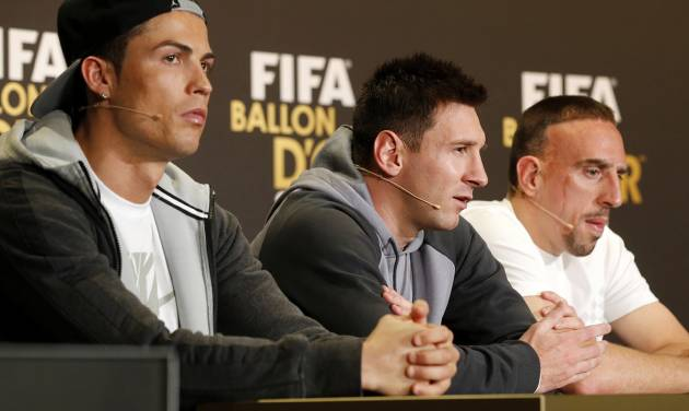 Real Madrid's Christiano Ronaldo of Portugal, FC Barcelona's Lionel Messi of Argentina, and Bayern Munich's Franck Ribery of France, from left, the three nominees for world soccer player of the year, take part in a press conference prior to the FIFA Ballon d'Or 2013 Gala in Zurich, Switzerland, Monday, Jan. 13, 2014. (AP Photo/Michael Probst)