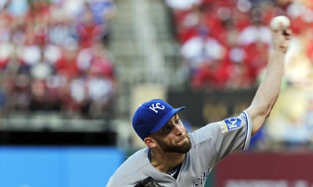 Kansas City Royals starting pitcher Danny Duffy (41) delivers against the St. Louis Cardinals in the first inning of a baseball game, Monday, June 2, 2014, in St. Louis.(AP Photo/Tom Gannam)