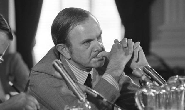 FILE - In this July 26, 1972, file photo, Ralph Wilson, owner of the Buffalo Bills football team, listens to a question as he appeared before the House Select Committee on Crime in Washington. Bills owner Wilson Jr. has died at the age of 95. NFL.com says team president Russ Brandon announced his death at the league's annual meeting in Orlando, Fla., Tuesday, March 25, 2014. (AP Photo/Charles Gorry, File)