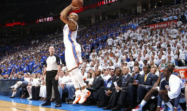 Oklahoma City's Derek Fisher makes a three pointer during Game 2 in the second round of the NBA playoffs between the Oklahoma City Thunder and the Memphis Grizzlies at Chesapeake Energy Arena In Oklahoma City, Tuesday, May 7, 2013. Photo by Bryan Terry, The Oklahoman
