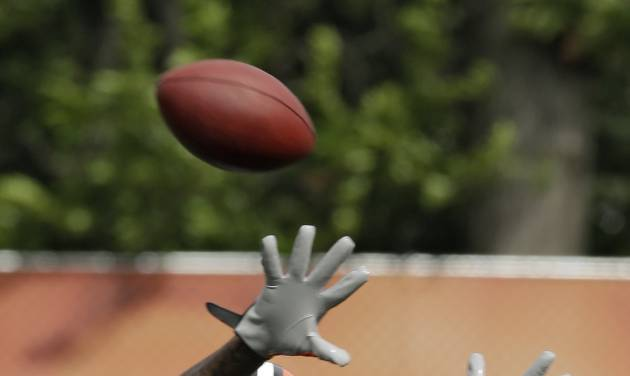 Cleveland Browns wide receiver Josh Gordon (12) makes a catch during training camp at the NFL football team's facility in Berea, Ohio, Sunday, July 28, 2013. (AP Photo/Mark Duncan)