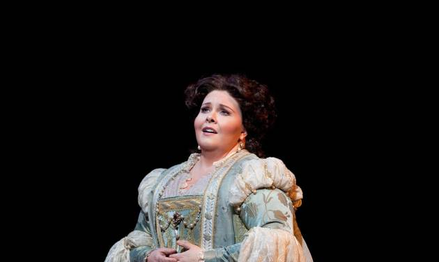 """In this Jan. 30, 2012, photo provided by the Metropolitan Opera Angela Meade performs as Elvira in Verdi's """"Ernani"""" during a dress rehearsal at the Metropolitan Opera in New York. (AP Photo/Marty Sohl)"""