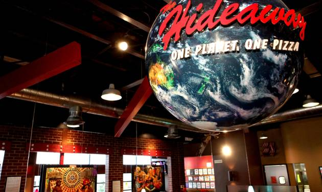 Collages and a large globe hang inside the Hideaway Pizza restaurant on Northwest Expressway in northwest Oklahoma City on Tuesday, March 3, 2009. By John Clanton, The Oklahoman ORG XMIT: KOD