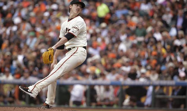 San Francisco Giants starting pitcher Tim Lincecum winds up in the seventh inning of the Giants' baseball game against the San Diego Padres on Wednesday, June 25, 2014, in San Francisco. Lincecum threw his second career no-hitter as San Francisco won 4-0. (AP Photo/Eric Risberg)