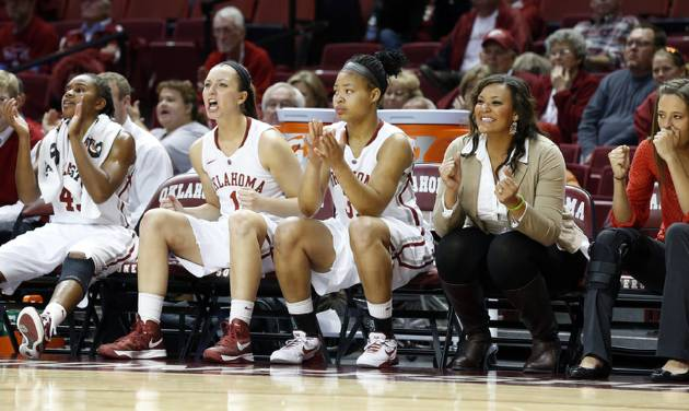 Only three substitutes are available in the second half as the University of Oklahoma Sooners (OU) play the North Texas Mean Green in NCAA, women's college basketball at The Lloyd Noble Center on Thursday, Dec. 6, 2012  in Norman, Okla.  Oklahoma's Jasmine Hartman (45), Nicole Kornet (1) and Portia Durrett (31) are the only healthy Sooners not on the floor.   Photo by Steve Sisney, The Oklahoman