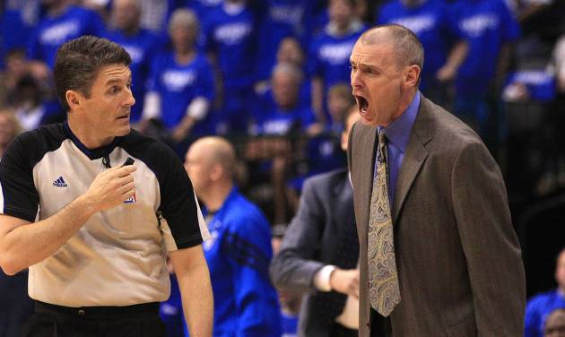 Dallas Mavericks head coach Rick Carlisle yells at referee Scott Foster during the first half of Game 4 in a first-round NBA basketball playoff series, Saturday, May 5, 2012, in Dallas. (AP Photo/LM Otero)